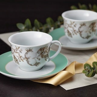 BonJour Dinnerware Fruitful Nectar Print Porcelain Teacup and Saucer Set