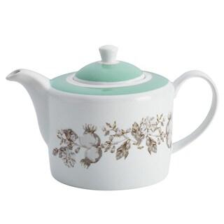 BonJour Dinnerware Fruitful Nectar Print Porcelain Teapot