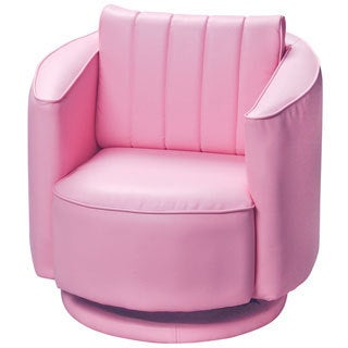 Gift Mark Home Kids Upholstered Swivel Chair Pink