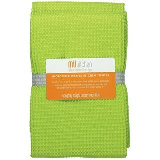 Grass Green Waffle Microfiber Dishtowel (Set of 2)