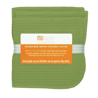Peridot Green Microfiber Waffle Dishcloth (Set of 3)