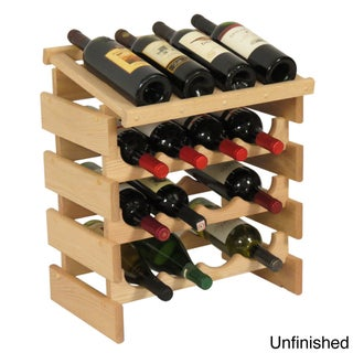 Stackable 16-bottle Wood Dakota Wine Rack with Display Top (Option: Oak/Off-White)