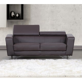 Edam Chocolate Contemporary Bonded Leather Loveseat