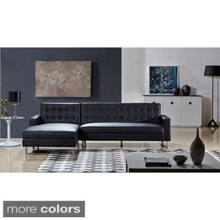 Dorris Faux Leather Contemporary Left Chaise Sectional Sofa Set