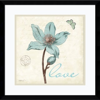 Katie Pertiet 'Touch of Blue IV Love' Framed Art Print 17 x 17-inch