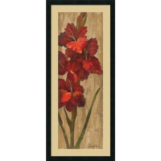 Silvia Vassileva 'Vivid Red Gladiola on Gold' Framed Art Print 18 x 42-inch