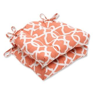 Pillow Perfect Lattice Damask Tangerine Reversible Chair Pad (Set of 2)