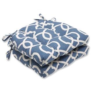 Pillow Perfect Lattice Damask Yacht Reversible Chair Pad (Set of 2)