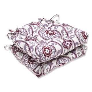 Pillow Perfect Suzanni Damask Plum Reversible Chair Pad (Set of 2)