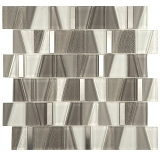 SomerTile 11.75x11.875-inch Orion Grey Glass and Stainless Steel Mosaic Wall Tile (Case of 10)