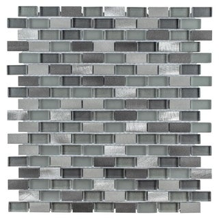 SomerTile 11.25x12-inch Fuse Mini Subway Sonoma Brushed Aluminum and Glass Mosaic Tile (Case of 10)
