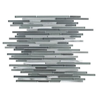SomerTile 11.75x11.75-inch Fuse Mini Linear Sonoma Brushed Aluminum and Glass Mosaic Wall Tile (Case