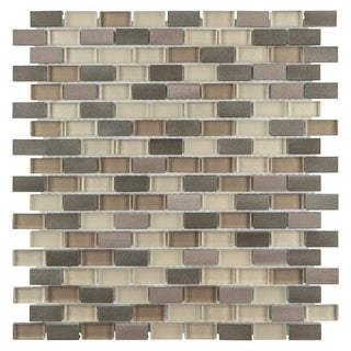 SomerTile 11.25x12-inch Fuse Mini Subway Amador Brushed Aluminum and Glass Mosaic Wall Tile (Case of