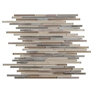 SomerTile 11.75 x 11.75-inch Fuse Mini Linear Amador Brushed Aluminum and Glass Mosaic Wall Tile (Ca