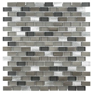 SomerTile 11.25x12-inch Fuse Mini Subway Aragon Brushed Aluminum and Glass Mosaic Wall Tile (Case of