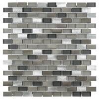 SomerTile 11.25x12-inch Fuse Mini Subway Aragon Aluminum and Glass Mosaic Wall Tile (10 tiles/9.58 sqft.)