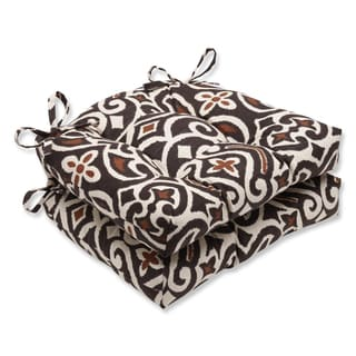 Pillow Perfect New Damask Terrain Reversible Chair Pad (Set of 2)