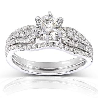 Annello by Kobelli 14k White Gold 1 1/10ct TDW Round Halo Diamond Bridal Set
