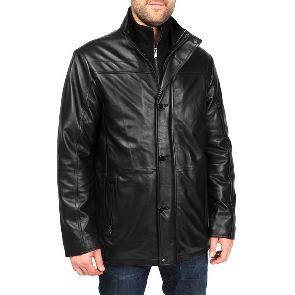 EXcelled Men's Black Lambskin Leather Car Coat with Detachable Bib ...