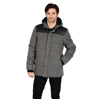 Men's Big and Tall Faux Wool detachable Hooded Puffer