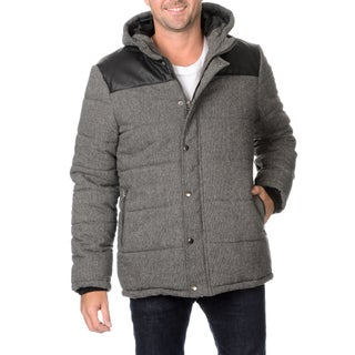 Excelled Men's Faux Wool Hooded Puffer with Pockets