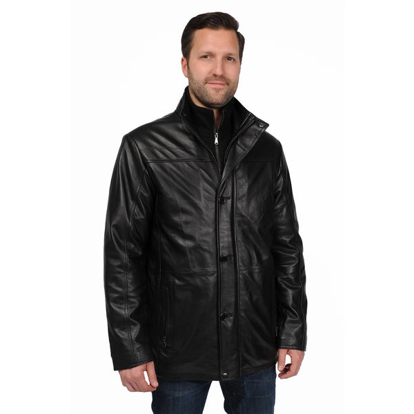 EXcelled Men's Big and Tall Lambskin Car Coat with Detachable Bib ...