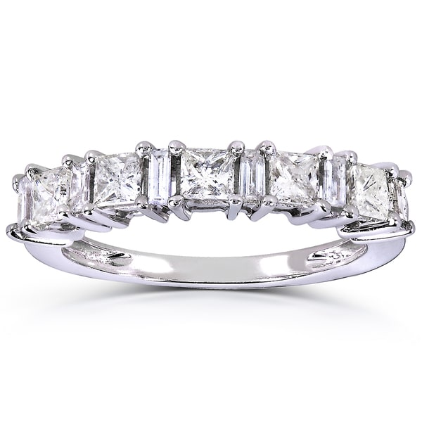 Annello by Kobelli 14k White Gold 3/4ct TDW Princess and Baguette Diamond Ring
