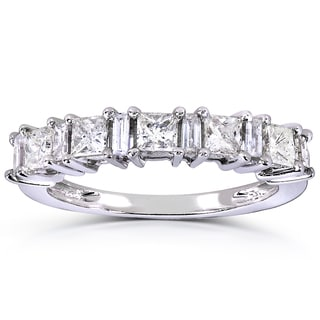 Annello by Kobelli 14k White Gold 3/4ct TDW Princess and Baguette Diamond Ring (H-I, I1-I)