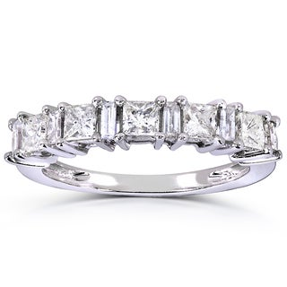 Annello 14k White Gold 3/4ct TDW Princess and Baguette Diamond Ring (H-I, I1-I2)