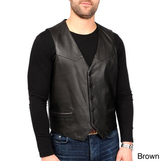 EXcelled Men's Lambskin Leather Button-front Vest (Tall Sizes)