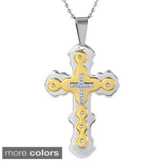 Men's Stainless Steel Cubic Zirconia Cross Pendant Necklace