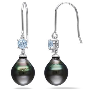 Miadora Silver Tahitian Pearl, Blue Topaz and Diamond Accent Earrings (9-9.5 mm)