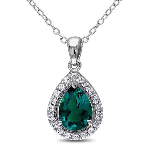 Miadora Silver Created Emerald and White Sapphire Necklace