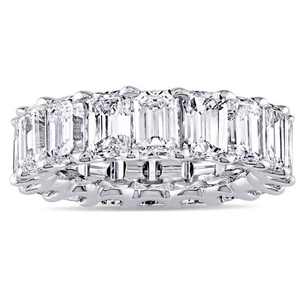 Miadora Signature Collection Platinum 9 1/6ct TDW Emerald-cut Diamond Eternity Anniversary Ring
