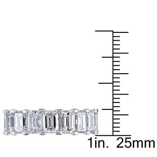 Miadora Signature Collection Platinum 9 1/6ct TDW Emerald-cut Diamond Eternity Anniversary Ring (G-H, VS1-VS2)
