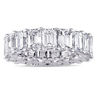 Miadora Signature Collection Platinum 9 1/6ct TDW Emerald-cut Diamond Eternity Anniversary Ring (G-H, VS1-VS2)