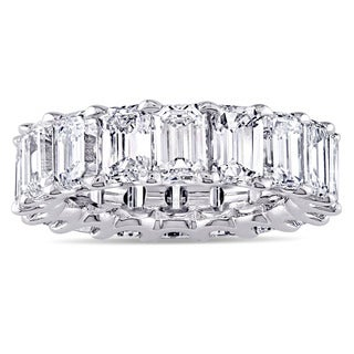 Miadora Signature Collection Platinum 9 1/6ct TDW Emerald-cut Diamond Eternity Anniversary Ring (3 options available)