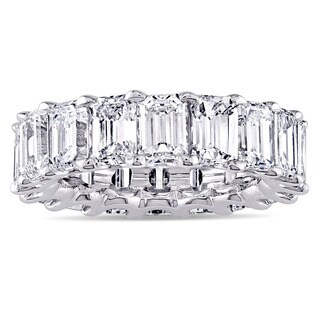 Miadora Signature Collection Platinum 9 1/6ct TDW Emerald-cut Diamond Eternity Anniversary Ring