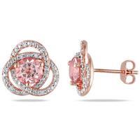 Miadora Rose Plated Silver Morganite and 1/10ct TDW Diamond Earrings (H-I, I2-I3)
