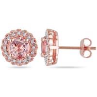 Miadora Roseplated Silver Morganite and 1/10ct TDW Diamond Earrings (H-I, I2-I3)
