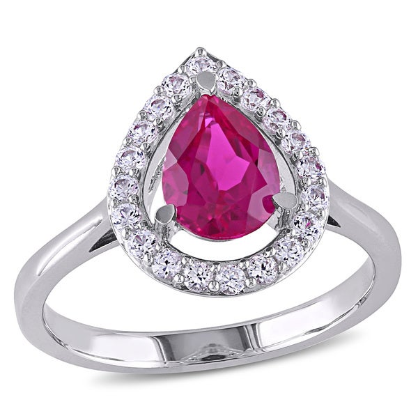 Miadora Sterling Silver Created Ruby and White Sapphire Cocktail Ring