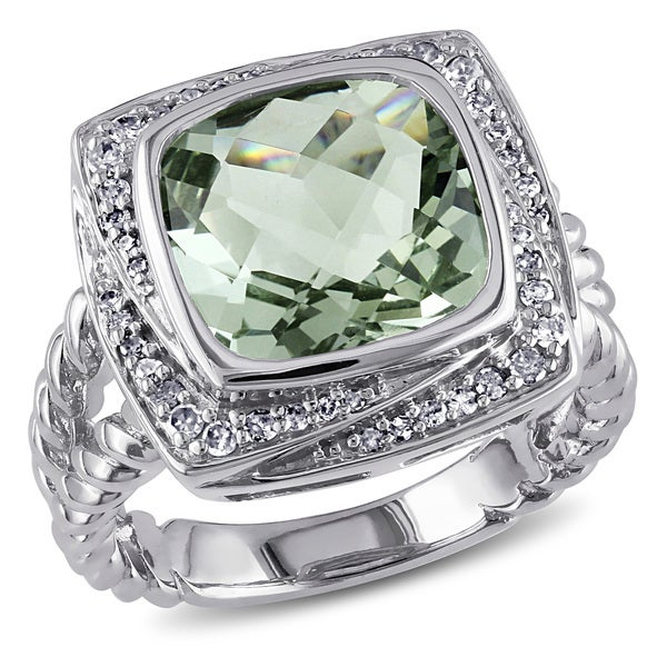 Miadora Sterling Silver 4ct Green Amethyst and 1/4ct TDW Diamond Ring (G-H, I1-I2)