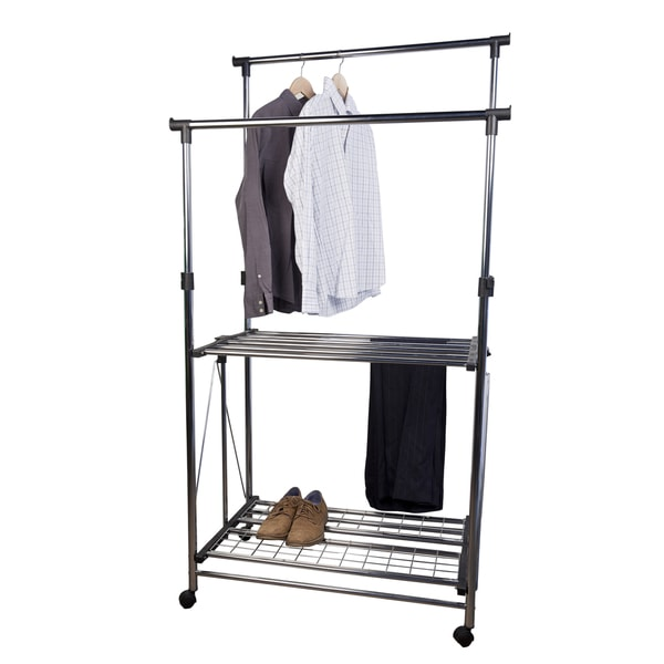 Folding Telescopic Double Garment Rack On Wheels Free Shipping Today Overstock Com 16467388