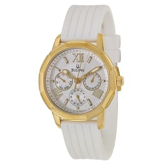 Bulova Women's 97N108 Yellow Goldplated Stainless Steel White Military Time Watch|https://ak1.ostkcdn.com/images/products/9306099/P16467390.jpg?impolicy=medium