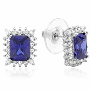 Sterling Silver Purple Cubic Zirconia Stud Earrings