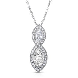 Eloquence 14k White Gold 1 5/8ct TW Diamond Marquise Twist Necklace (H-I, I1-I2)