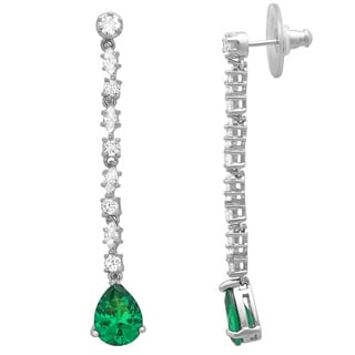 Sterling Essentials Rhodium-plated Sterling Silver Green Pear Cubic Zirconia Dangle Earrings