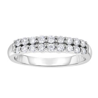 Eloquence 10k White Gold 1/2ct TDW Diamond Double-row Band (H-I, I1-I2)