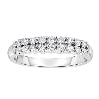 Eloquence 10k White Gold 1/2ct TDW Diamond Double-row Band