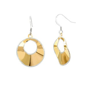 Roberto Martinez Goldplated Silver Two Tone Laser Cut Round Dangle Earrings